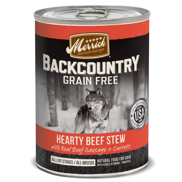 Merrick Backcountry Grain Free Hearty Beef Stew with Real Beef Sausage + Carrots Dog Food