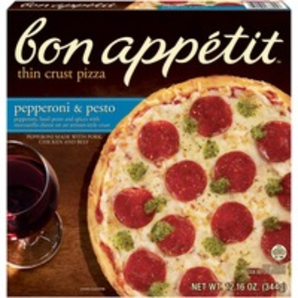 Bon Appetit Thin Crust Pepperoni & Pesto Pizza