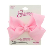 Expressions Pink Grosgrain Bow Clips