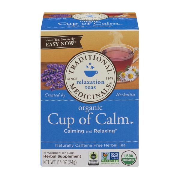 Traditional Medicinals Relaxation Teas Organic Cup Of Calm Wrapped Tea Bags - 16 CT