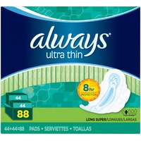 Always Thin Ultra Always Ultra Thin Super Pads With Wings 88 count Feminine Care