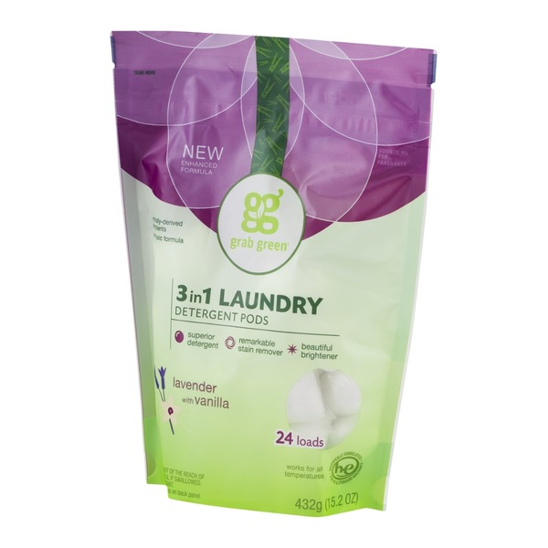 Grab Green 3 In 1 Laundry Detergent Pods Lavender With Vanilla - 24 CT