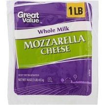 Great Value Natural Whole Milk Mozzarella Cheese, 16 oz