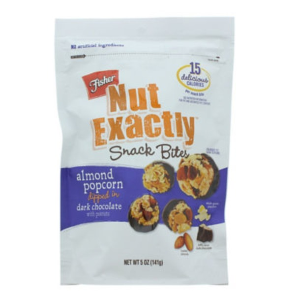 Fisher Nut Exactly Almond Popcorn in Dark Chocolate Snack Bites