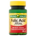 Spring Valley Folic Acid Tablets, 400 mcg, 250 Ct