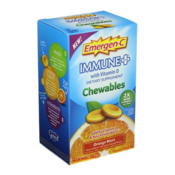 Emergen-C Immune+ Chewables Orange Blast Chewable Tablets Dietary Supplement