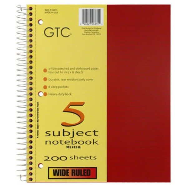 GTC 5 Subject Wide Ruled Notebook