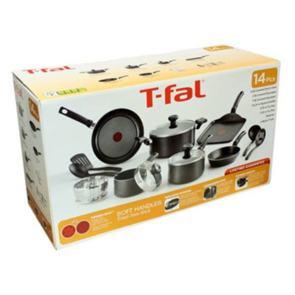T-Fal Soft Handle 14 Piece Set, Black