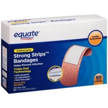 Equate Antibacterial Strong Strips Bandages, 60 Ct