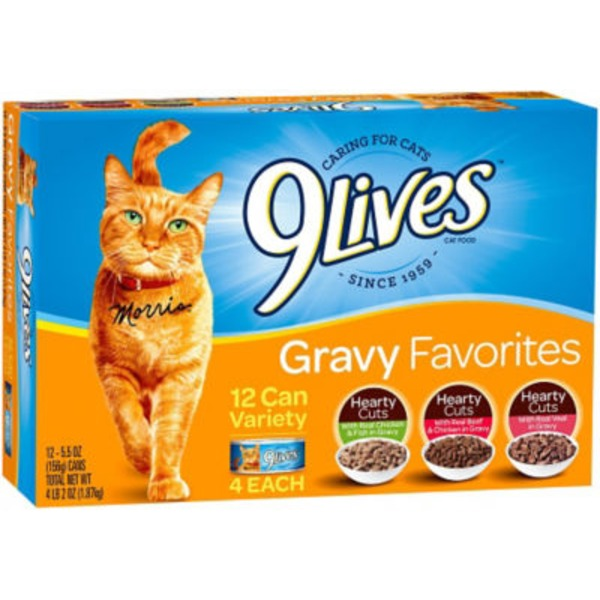 9 Lives Wet Gravy Favorites Variety Pack Cat Food