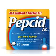 Maximum Strength Pepcid AC All-Day Heartburn Relief Treatment, 50 count, famotidine 20 mg