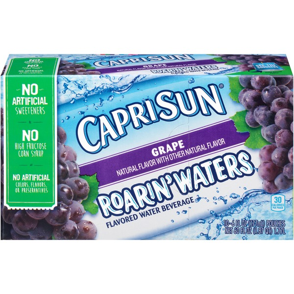 Caprisun Roarin' Waters Grape Flavored Water Beverage