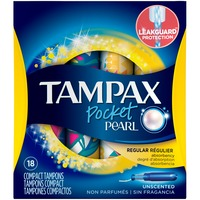 Tampax Pearl Pocket Tampax Pocket Pearl Regular Plastic Tampons, Unscented, 18 Ct Feminine Care