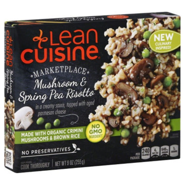 Lean Cuisine Marketplace In a creamy sauce, topped with aged parmesan cheese Mushroom & Spring Pea Risotto