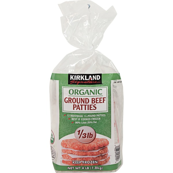 Kirkland Signature Organic Ground Beef Patties 12 Count/4 Lb