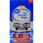 Great Value Strong Flex Tall Kitchen Drawstring Trash Bags, Unscented, 13 Gallon, 45 Count