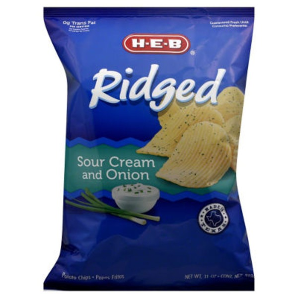 H-E-B Sour Cream And Onion Ridged Potato Chips