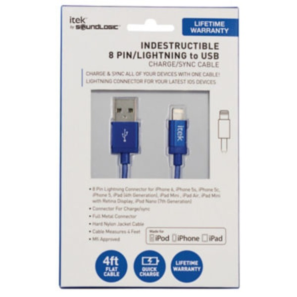 Itek 8 Pin Lightning To USB Cable Blue