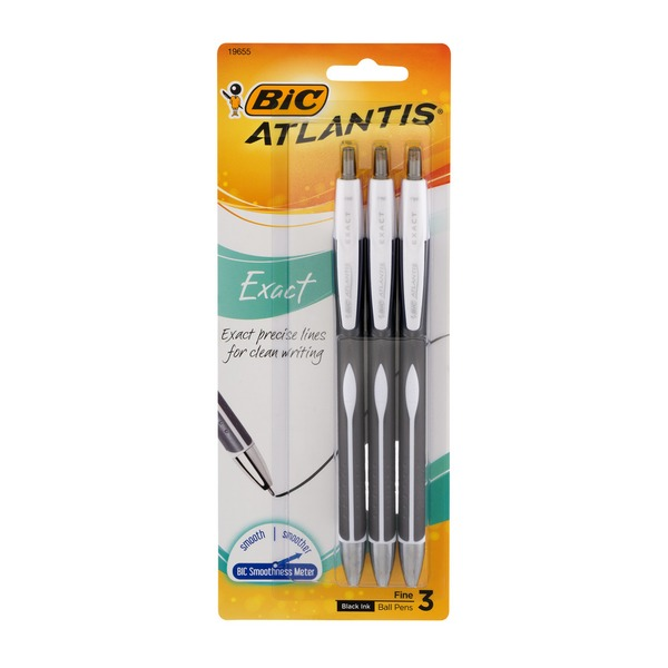 BiC Atlantis Exact Ball Pens Fine Black Ink - 3 CT