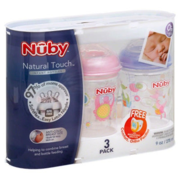 Nuby Natural Touch Baby Bottle Set Of 3 9oz