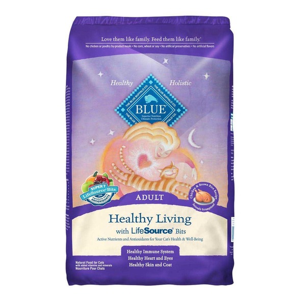 Blue Buffalo Cat Food, Healthy Living, Chicken & Brown Rice, Adult, Bag