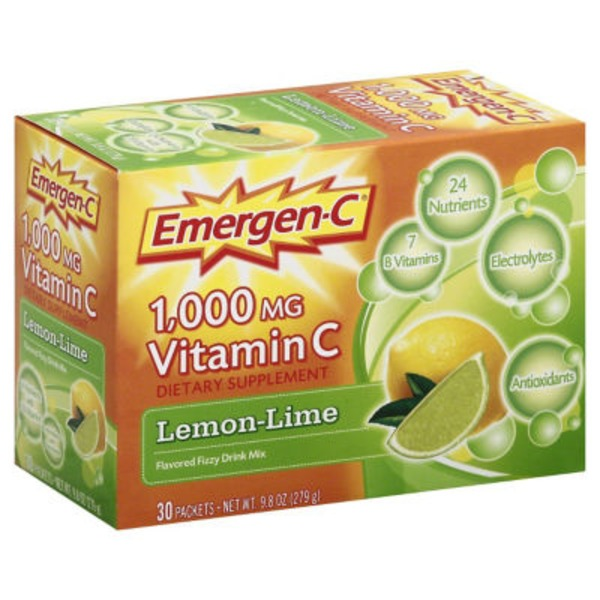 Emergen-C Lemon-Lime Vitamin C 1000mg Drink Mix Dietary Supplement