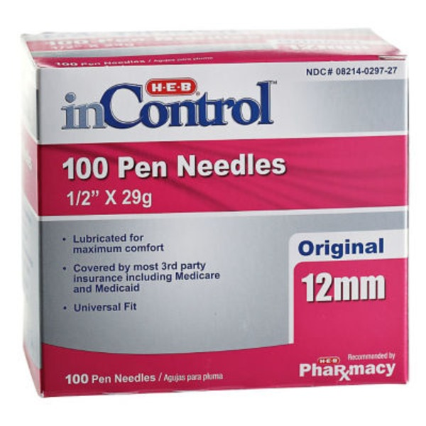 H-E-B In Control Original 12 Mm 29 Gauge Pen Needles