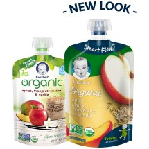 Gerber Organic 2nd Foods Baby Food, Apples Mangoes with Rice & Vanilla, 3.5 oz Pouch