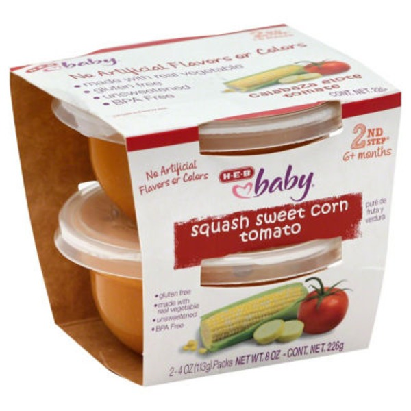 H-E-B Baby 2nd Step Squash Sweet Corn Tomato Baby Food Cups
