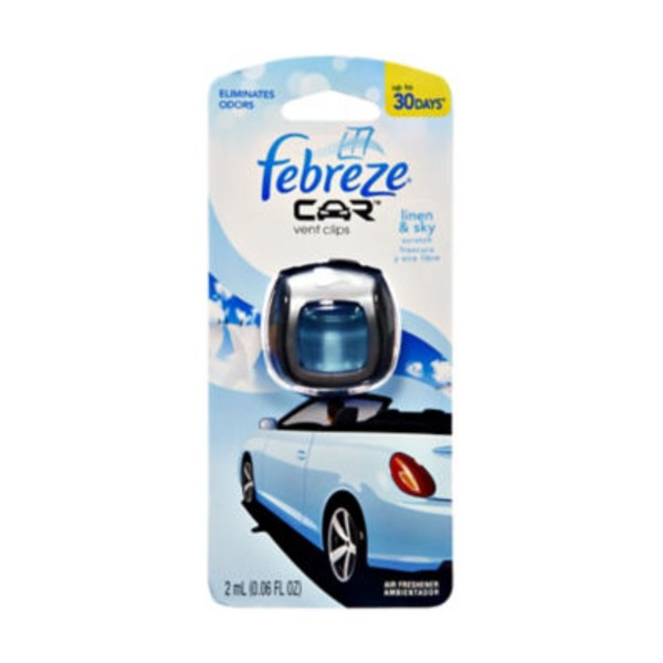 Febreze CAR Vent Clip Linen & Sky Air Freshener (1 Count, 0.06 oz) Air Care