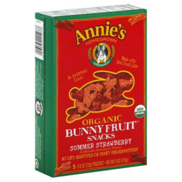 Annie's Homegrown Organic Bunny Fruit Snacks Summer Strawberry Fruit Snacks