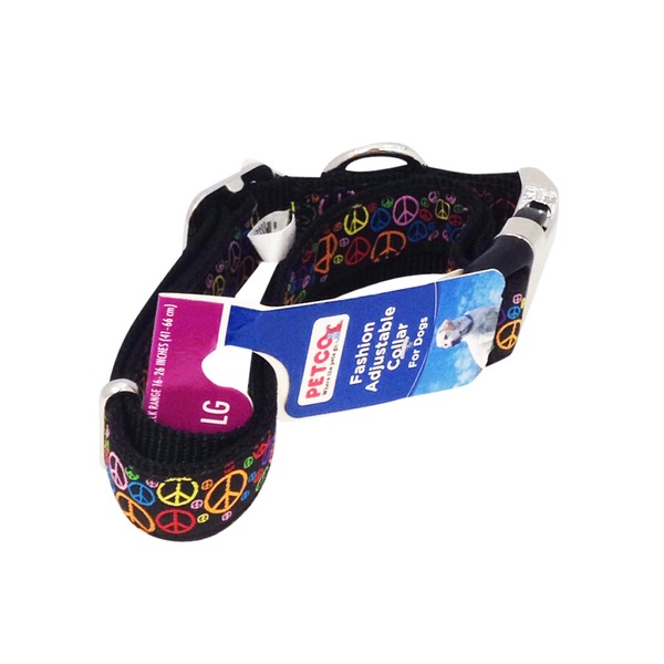 Petco Adjustable Peace Sign Fashion Dog Collar In Black