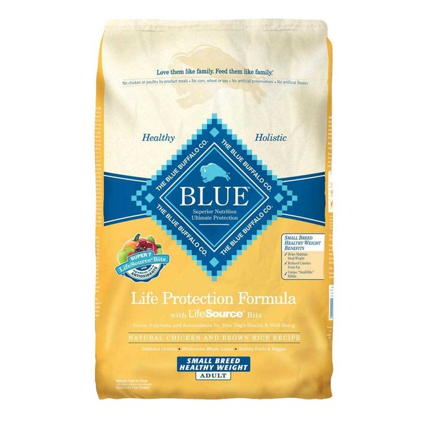 Blue Buffalo Food for Dogs, Natural, Life Protection Formula, Adult, Small Breed, Healthy Weight, Natural Chicken and Brown Rice Recipe
