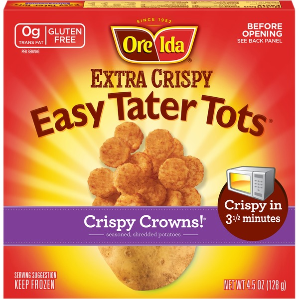 Ore Ida Easy Tater Tots Crispy Crowns! Seasoned Shredded Potatoes