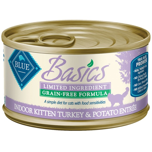 Blue Buffalo Food for Kittens, Natural, Grain-Free Formula, Indoor Kitten Turkey & Potato Entree