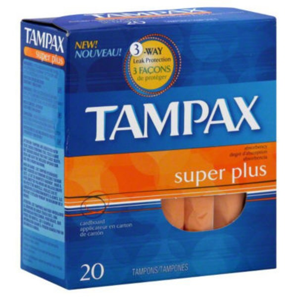 Tampax Cardboard Super Plus Tampons, Unscented, 20 count Feminine Care
