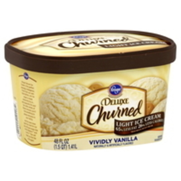 Kroger Deluxe Churned Lite Vividly Vanilla Ice Cream