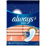 Maxi Always Maxi Size 4 Overnight Pads Without Wings, Unscented, 28 Count
