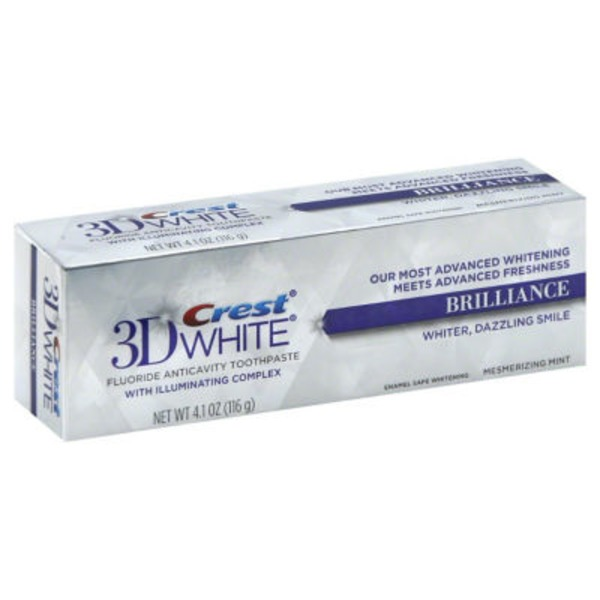 Crest 3D White Crest 3D White Brilliance Vibrant Peppermint  Whitening Toothpaste Dentifrice