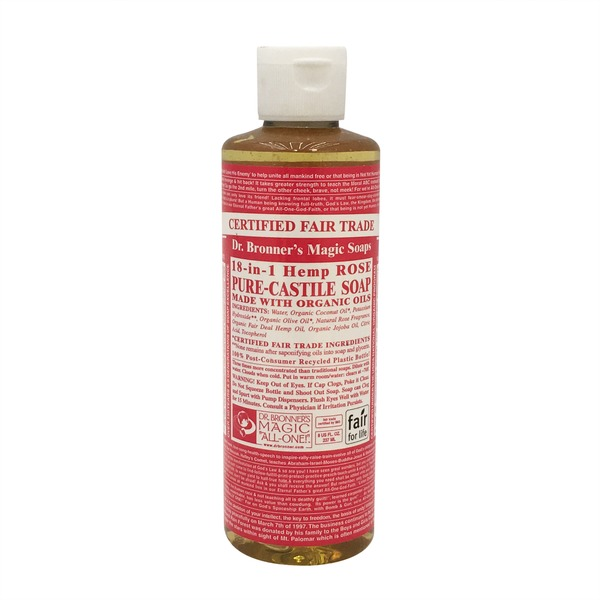 Dr. Bronner's Magic Soaps Organic 18-in-1 Rose Hemp Pure Castile Liquid Soap