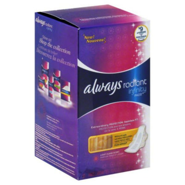 Always Radiant Infinity Regular Light Clean Scent Pads With Wings