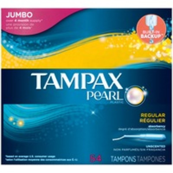 Tampax Pearl Tampax Pearl Plastic Regular Absorbency, Unscented Tampons 54 Count Feminine Care