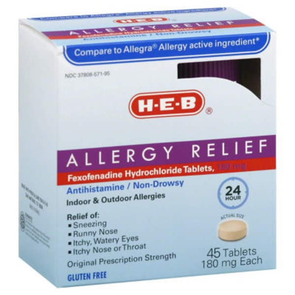 H-E-B Allergy Relief Fexofenadine Hydrochloride Tablets 180mg Antihistamine / Non Drowsy 24 Hour Indoor & Outdoor Allergies