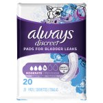 Always Discreet, Incontinence Pads, Moderate, Regular Length, 20 Count
