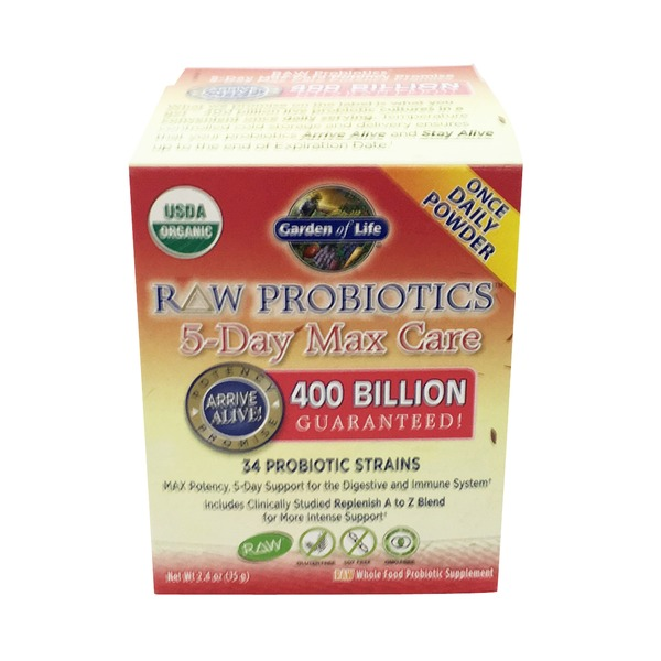 Garden of Life Organic 5-Day Max Care Powder Probiotic