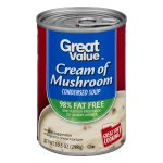 Great Value Cream of Mushroom Canned Soup, 98% Fat Free, 10.5 oz