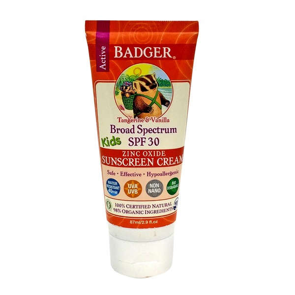 Badger Sunscreen Cream, Kids, Tangerine & Vanilla, Broad Spectrum SPF 30
