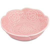 Harmony Embossed Rose Ceramic Cat Bowl 1.5