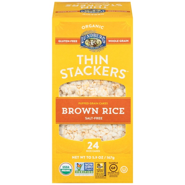 Lundberg Family Farms Thin Stackers Organic Brown Rice Salt Free Puffed Grain Cakes