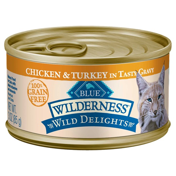 Blue Buffalo Chicken & Turkey in Tasty Gravy 100% Grain Free Wilderness Wild Delights Cat Food